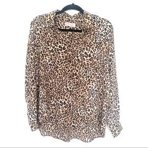 Philosophy Animal Print Button Up Top M